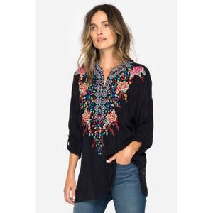 NWT Johnny Was Gemstone Embroidered Floral Blouse
